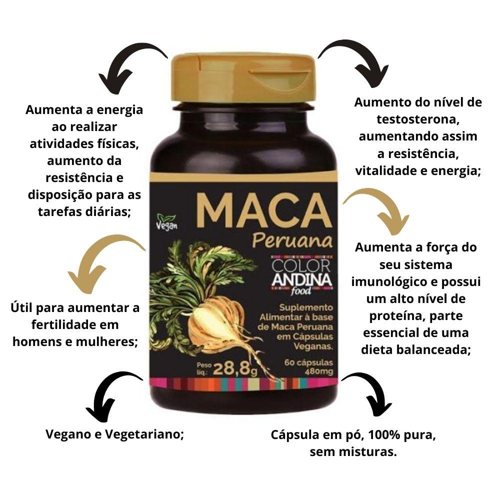 Maca Peruana Amarela Color Andina Food Vegan 60 Cápsulas