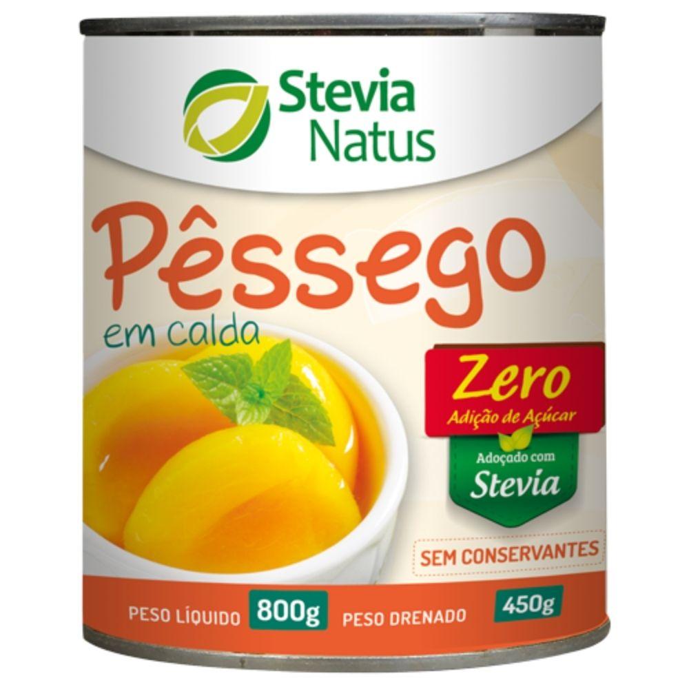 Pêssego Em Calda Zero Açúcar Adoçado com Stevia 800g Stevia Natus