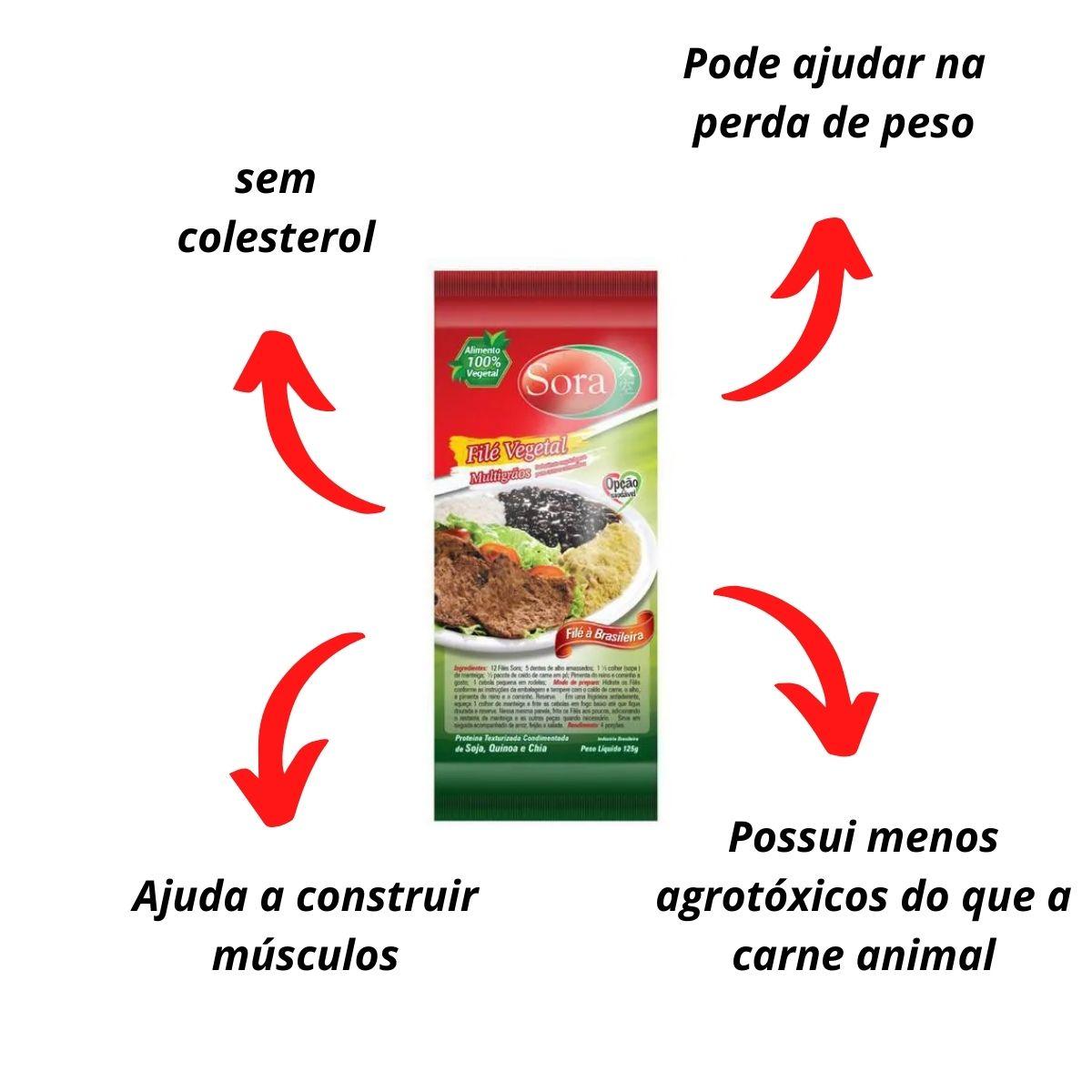 Sora fatias de soja carne vermelha 125g