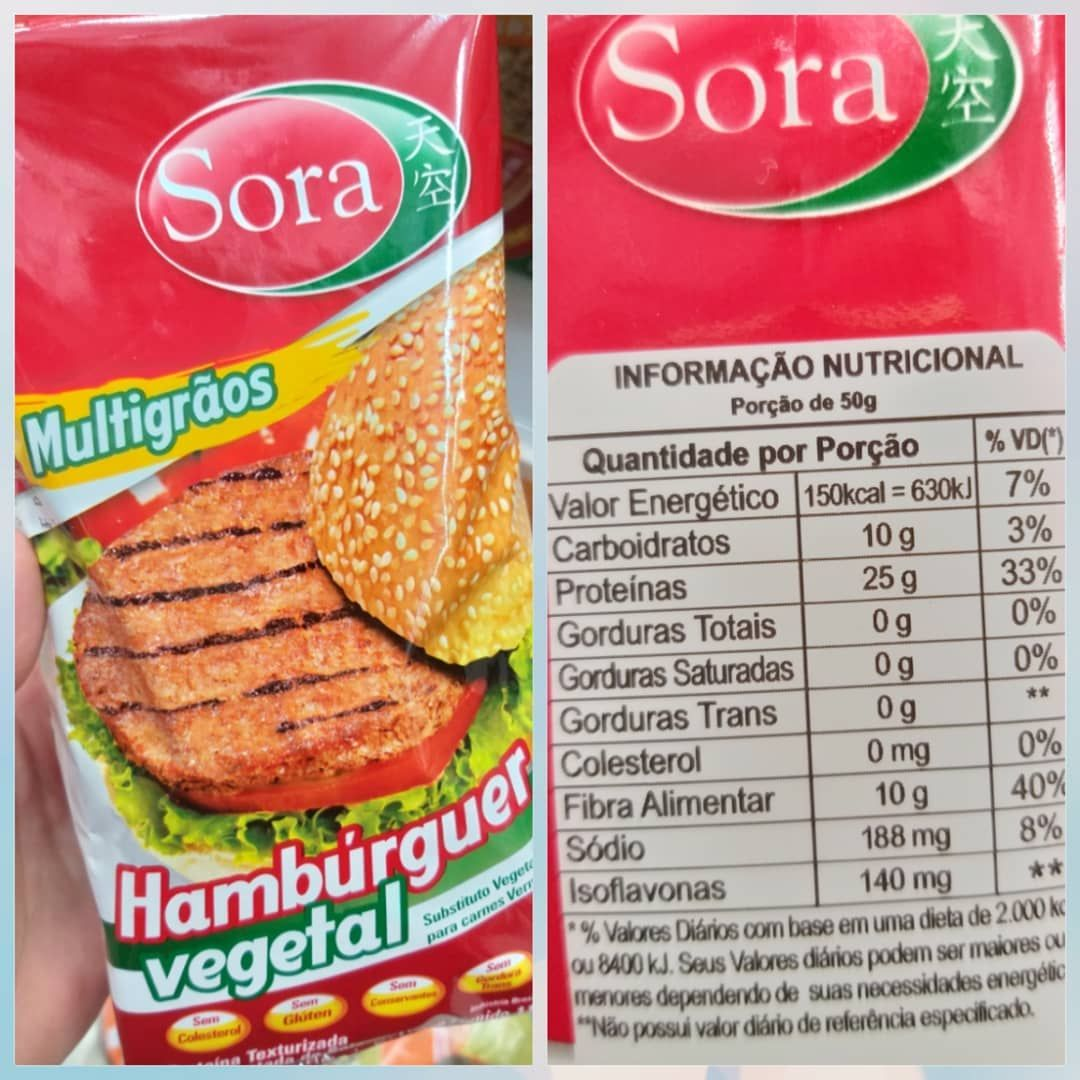 Sora hamburguer vegetal multigrãos