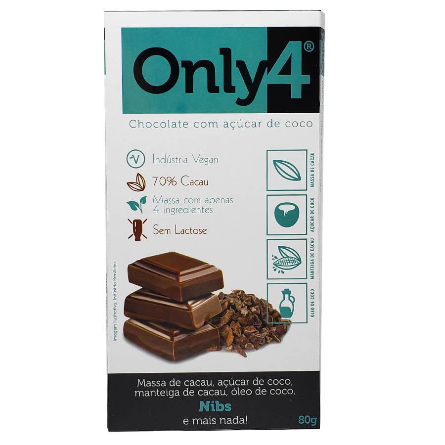 Tablete De Chocolate 70% Cacau Açúcar De Coco E Nibs De Cacau 80g Only4