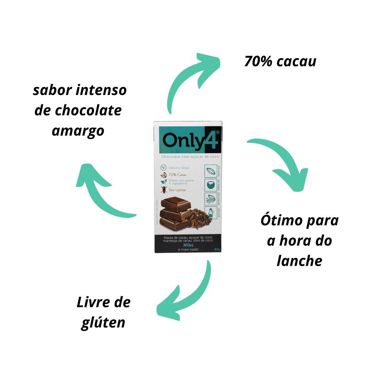 BARRA DE CHOCOLATE 70% Cacau Açúcar De Coco E Nibs De Cacau 80g Only4