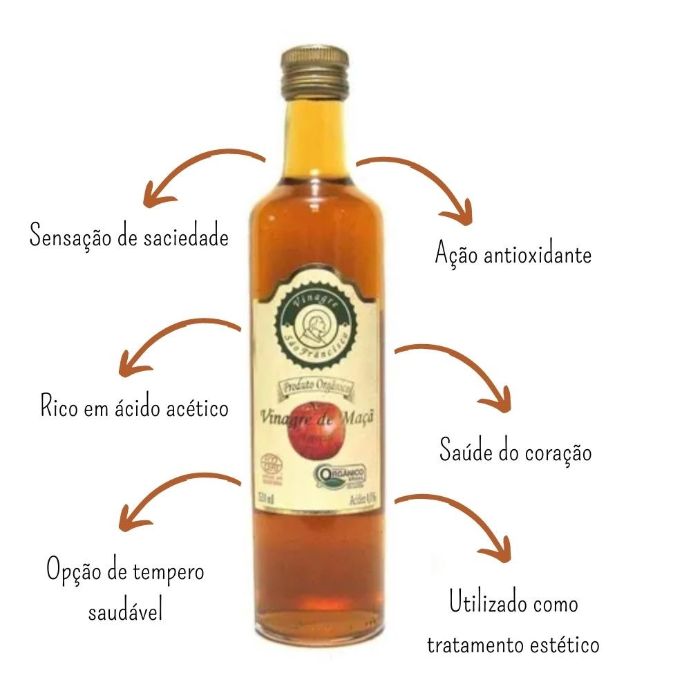 3 unidades Vinagre De Maçã Orgânico 500ml 100% Natural - São Francisco
