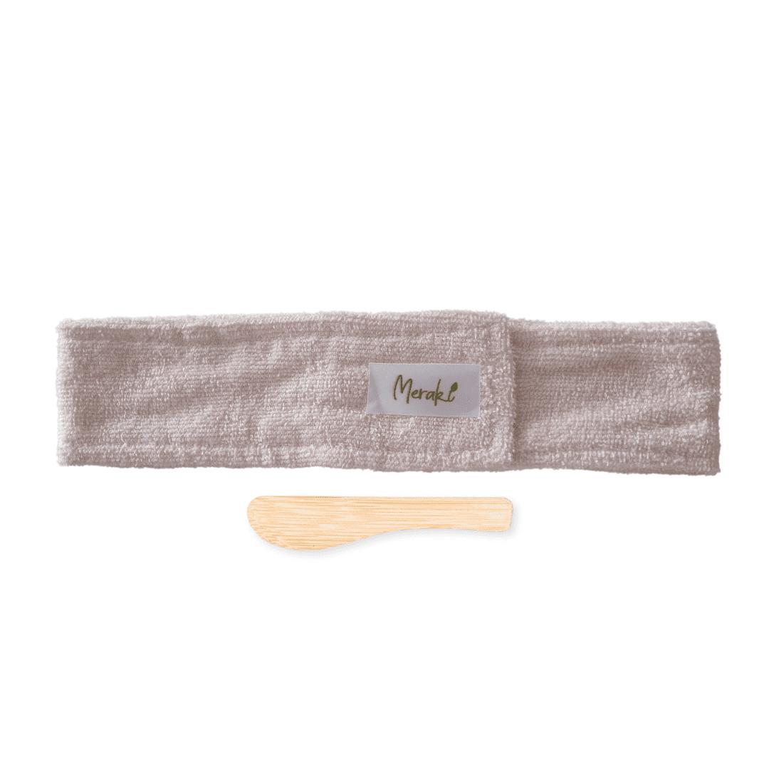 Faixa de cabelo + espátula facial de bambu