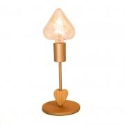 Abajur de alumínio com coração de madeira Munclair Exclusivo para Objetos de Coração - Cód.OC331