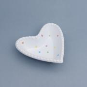 Bowl formato coração branco bolinha poá colorido borda bolinha. Cód.116-851