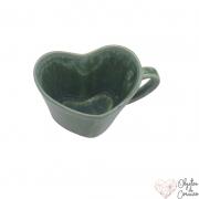 Caneca formato coração de porcelana verde Amazônia 150ml. OC317