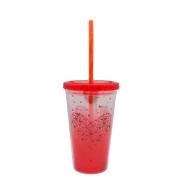 Copo de acrílico com canudo de acrílico - Vermelho - Cód 46680