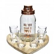 Kit Coqueteleira e copos formato coração - Cód. 427900