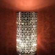 Luminária de Led em vidro rosa dourado com mini corações  tam. G - Cód. 41038