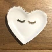 [OUTLET] Mini prato formato coração decorado com borda dourada cílios - Cód OUTMS2211C [OUTLET]