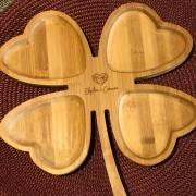 Petisqueira em bambu formato trevo coração - Cód. PD-04003