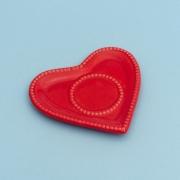 Pires formato coração de cerâmica para xícara de chá vermelho com borda de bolinha - Cód 75-869