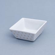 Pote de porcelana quadrado com coração dourado - Cód. OC232