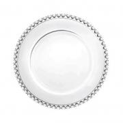 Prato de sobremesa cristal com borda de coração de cristal  20cm. Cód1504