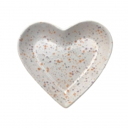Prato formato coração de cerâmica P estampa de granito branco- Cód.115-315PB