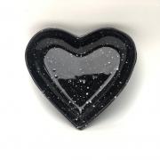 Prato formato coração de cerâmica P estampa de granito preto - Cód. 113-315PP