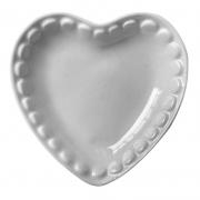 Prato formato coração de porcelana branca com borda decorada P- Cód.4045