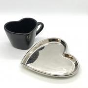 Prato formato coração prata de porcelana P - Cód. 44000