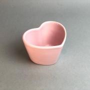 Vaso baixo formato coração de cerâmica design rosa - Cód. EROC487