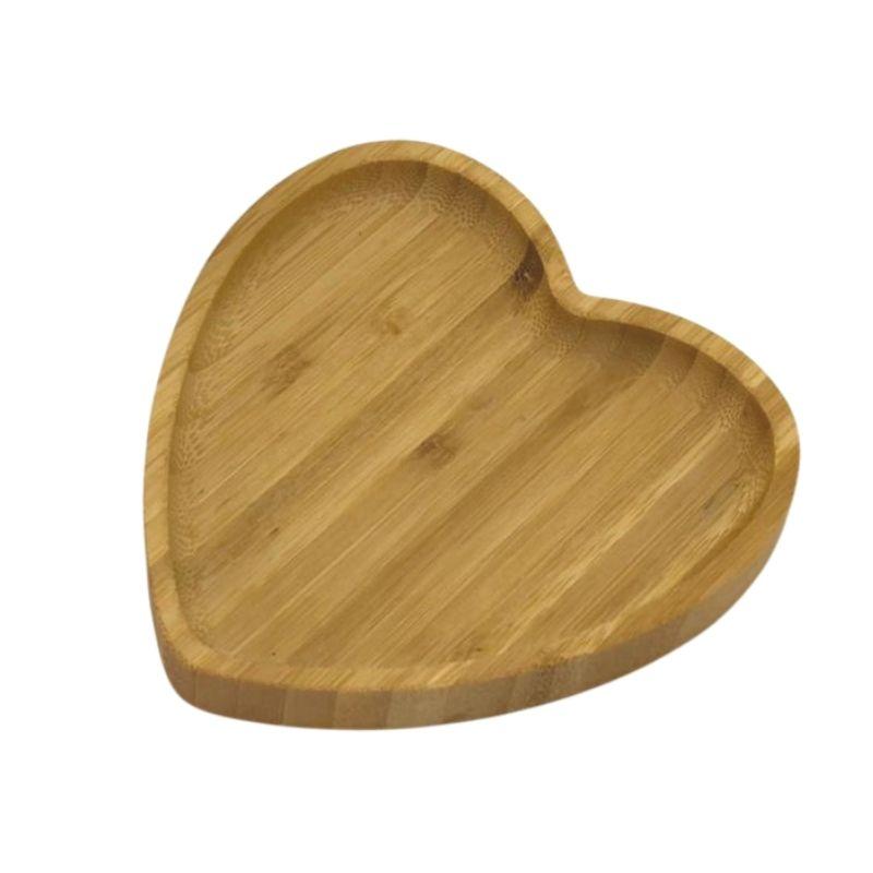 Bandeja de bambu formato coração P. Cód 1357