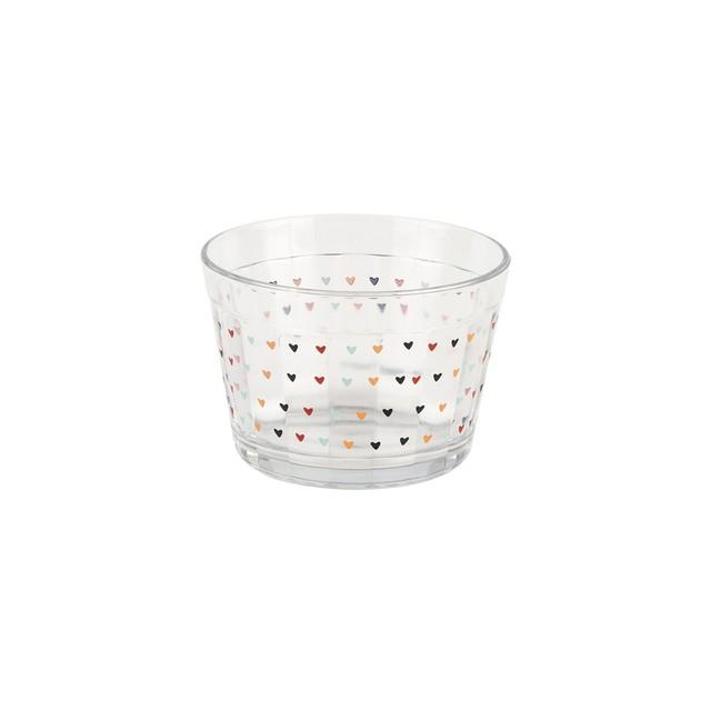 Bowl 350ml em vidro com mini corações - Cód. 1056
