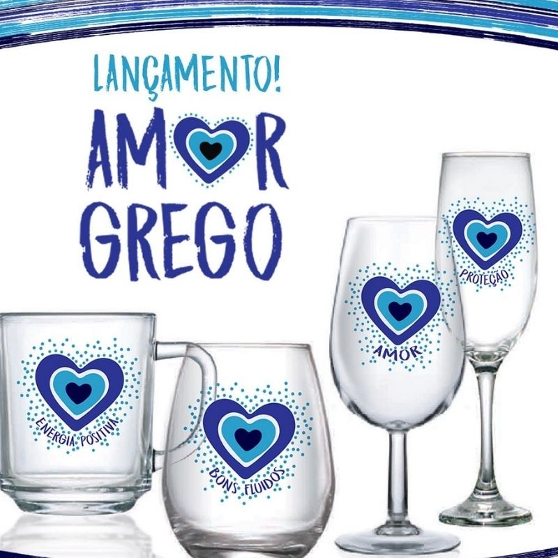 Caneca Amor Grego Bons Fluídos 245ml. Cód.80568P