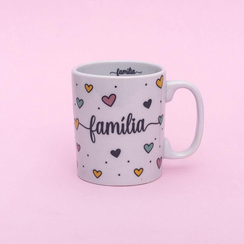 Caneca de porcelana Coração Família 300ml - Cód. 8052FA