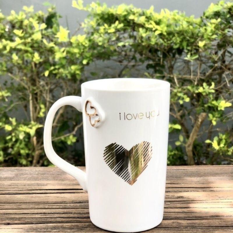 Caneca I love you de porcelana branca alta 300ml - Cód. YW-9157