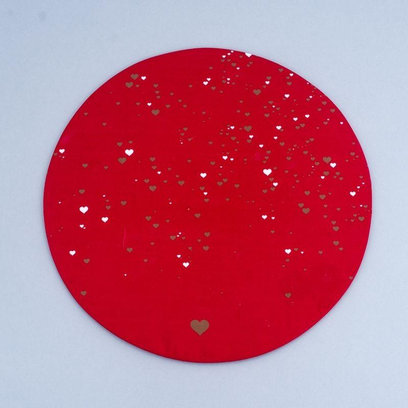 Capa sousplast vermelho com estampa de coração - Cód. OC320