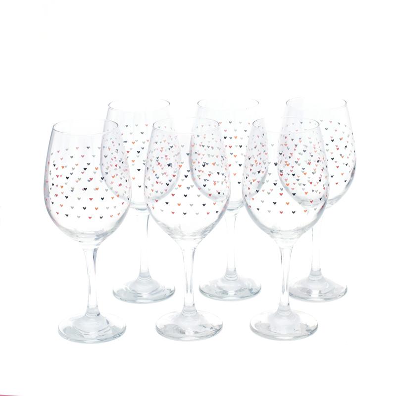 Conjunto 6 taças de Vinho 490ml com mini corações - Cód. OC308