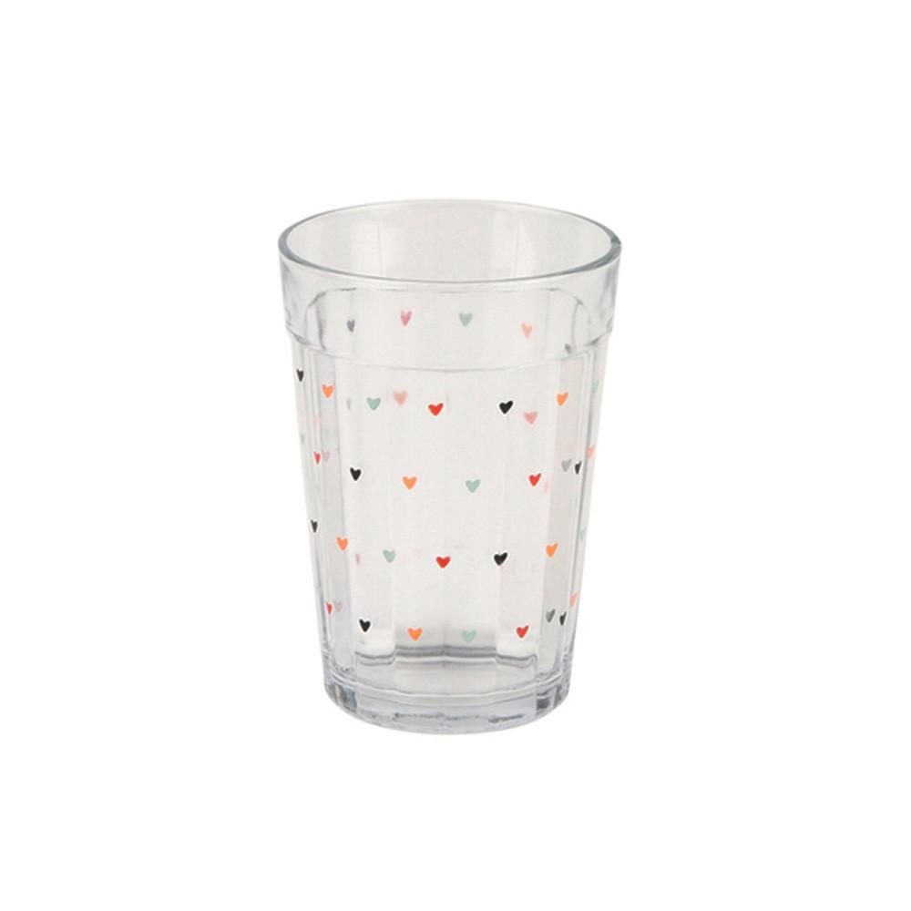 Copo de vidro 300ml com mini corações - Cód. 1038