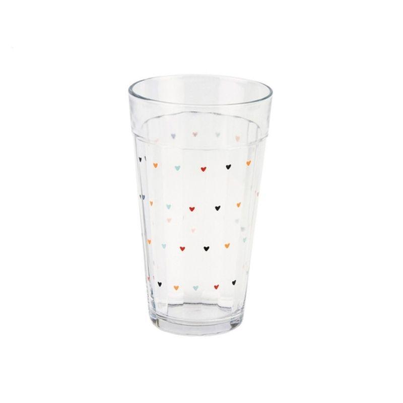 Copo de vidro 450ml com mini corações - Cód. 988