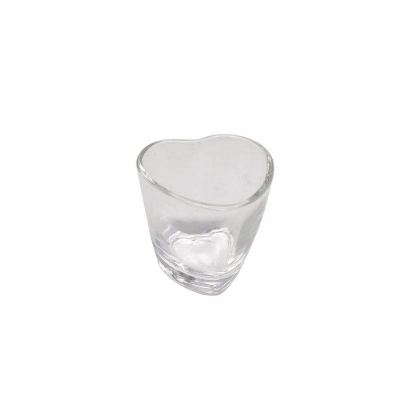 Copo formato coração de vidro mini shot 50ml. Cód 1668
