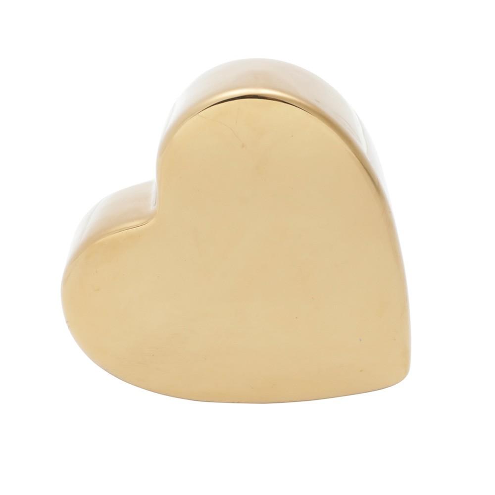 Coração dourado liso decorativo de porcelana com base - Cód. 43994