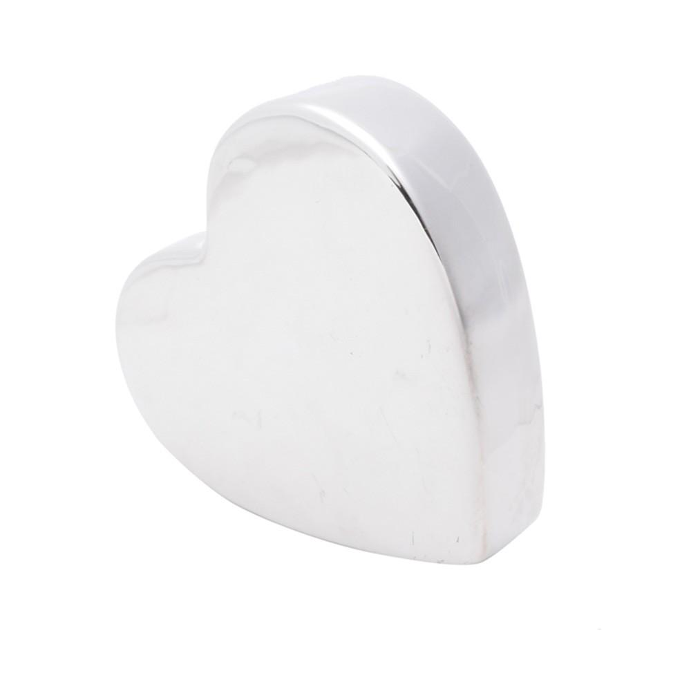 Coração prata liso decorativo de porcelana com base  - Cód. 43993