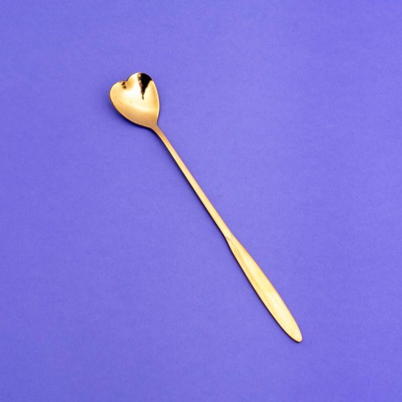 Jogo de colher formato coração dourada c/ 4 und - Cód. OC403