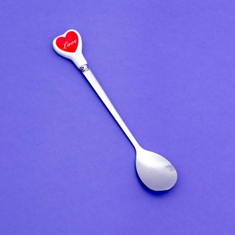 Jogo de colher formato coração prata ponta cerâmica c/ 4 und - Cód. OC512
