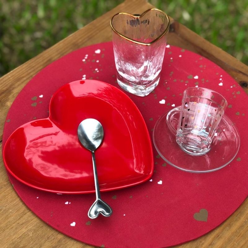 Kit c/ 2 colheres de sobremesa com ponta coração - Cód. OC400