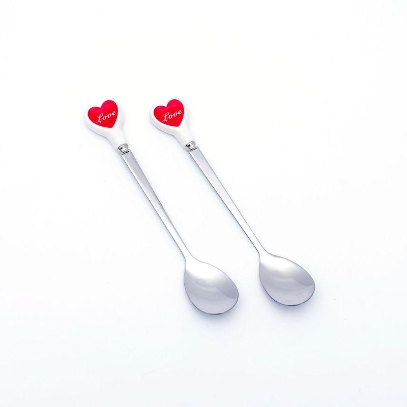 Kit c/ 2 colheres formato coração prata ponta cerâmica - Cód. OC513