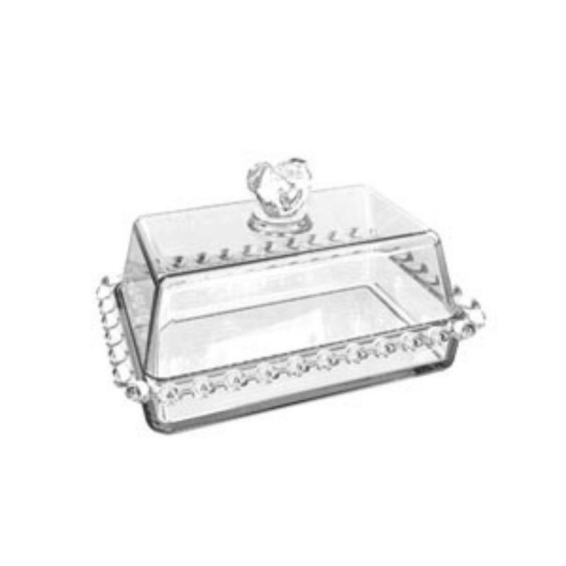 Manteigueira borda coração com tampa coração de cristal de cristal 17cmx10,5cmx10cm. Cód. 1703