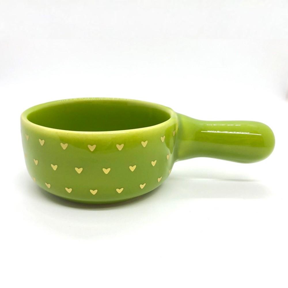 Mini Panela de cerâmica verde com mini coração dourado - Cód. OC194