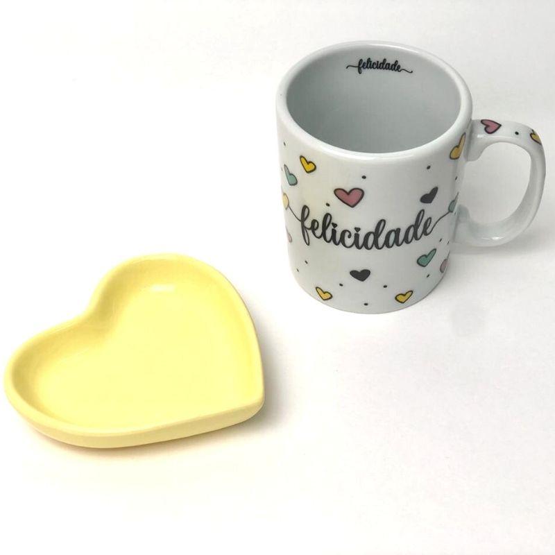 Mini prato formato coração amarelo bebê 10cm x 9cm. Cód 92-315PP