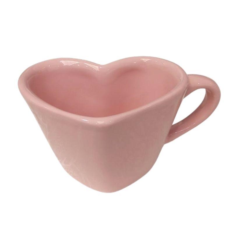 [OUTLET] Caneca formato coração de cerâmica 150ml design rosa - Cód. OUTEROC449 [OUTLET]