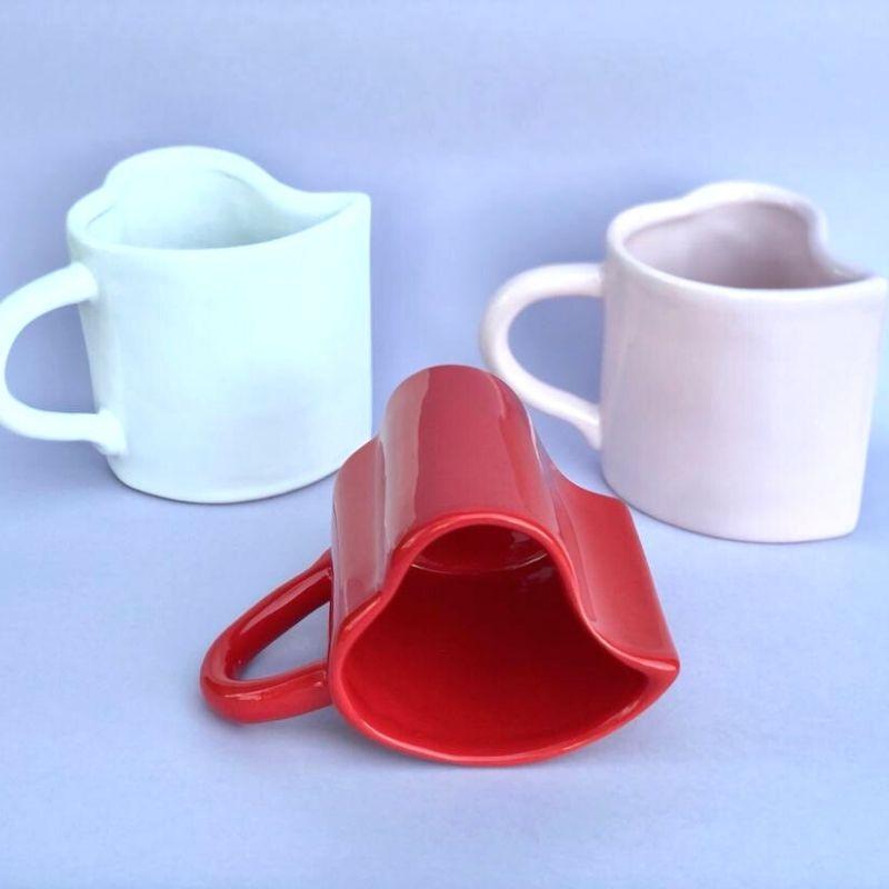 [OUTLET] Caneca formato coração de cerâmica 300ml design vermelha - Cód. OUTEROC453 [OUTLET]