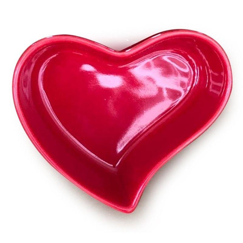 [OUTLET] Pote formato coração de cerâmica orgânico vermelho 100ml - OUTOC419 [OUTLET]