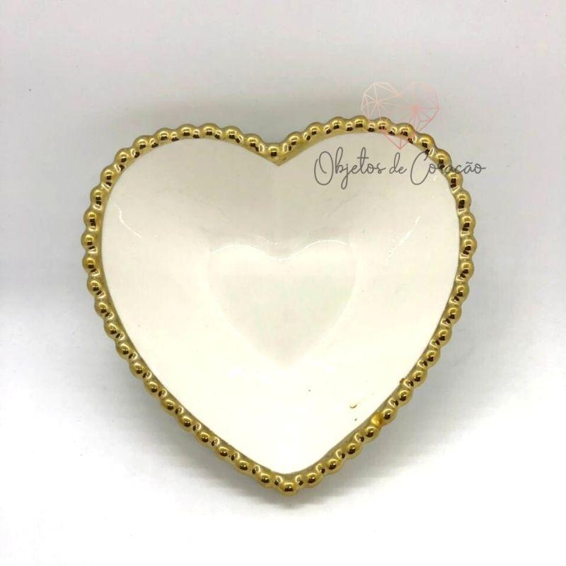 [OUTLET] Pote formato coração com borda de bolinha dourada. Cód. OUTDEC02692 [OUTLET]