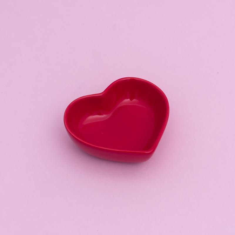 [OUTLET] Pote formato coração de cerâmica fundo vermelho 50ml  - OUTFY5333 [OUTLET]
