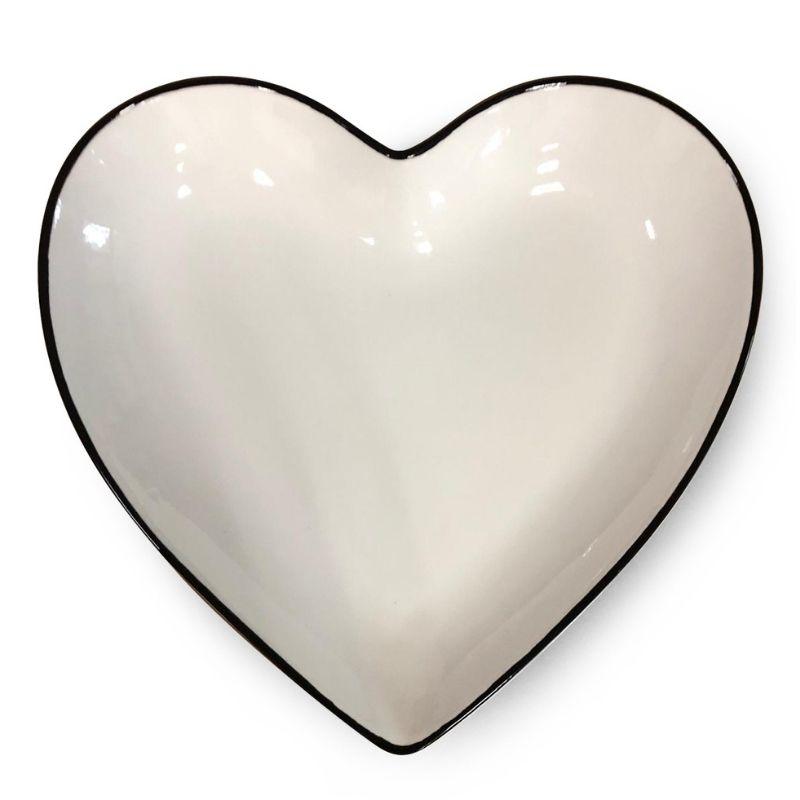 [OUTLET] Prato formato coração de cerâmica branco com borda preta - Cód. OUTOC416 [OUTLET]