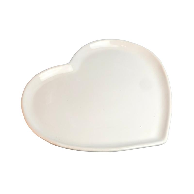 [OUTLET] Prato formato coração raso de cerâmica esmaltada branca G. Cód. OUT8595 [OUTLET]
